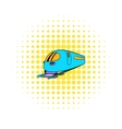 High speed train icon comics style vector image