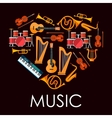 Love music heart made up of musical instruments vector image