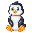 Cartoon funny penguin sitting isolated vector image