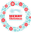 christmas wreath with traditional decorations vector image