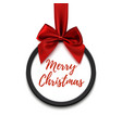 Merry Christmas black round banner with red ribbon vector image