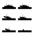 ship sinking in black color vector image