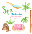 Watercolor Spa design elements on white background vector image