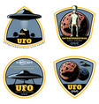 vintage colored ufo emblems set vector image