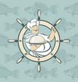 banner with cook and the fish in the sea vector image vector image