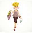 beautiful girl with shopping bags vector image vector image