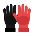 black and red gloves graphic vector image