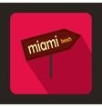 Miami arrow post sign icon flat style vector image