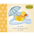baby shower card with duck toy vector image