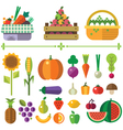 Basket with fruits and vegetables vector image