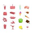 Foods and obesity flat design element set vector image
