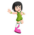 funny girl cartoon plying roller skates vector image