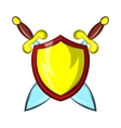 Gold shield with two crossed knight swords icon vector image