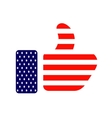 thumb up colored in American flag icon vector image