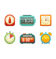 Flat clock icons set vector image
