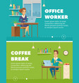 office worker characters cartoon banners vector image