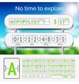 Mechanical scoreboard green alphabet with numbers vector image vector image
