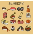 Asia Food Icon Set Colored vector image
