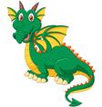 Cartoon happy green dragon vector image