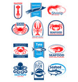 seafood and fish symbol set for food design vector image