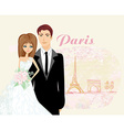 wedding couple in Paris vector image