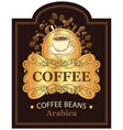 label for coffee beans arabica with cup and splash vector image