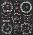 Hand Drawn Vintage Chalkboard Festive Elements Set vector image