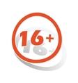 16 plus sign sticker orange vector image vector image