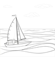 sailing boat in the sea contours vector image