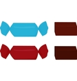 two chocolate candy wrapped in blue and red vector image vector image