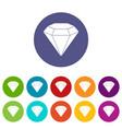 diamond gemstone icons set flat vector image