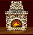 Fireplace at home pop art vector image