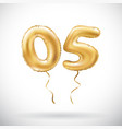 Golden number 05 zero five metallic balloon party vector image