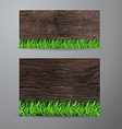 green grass on wood fence background vector image