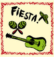 mexican fiesta party invitation with maracas vector image
