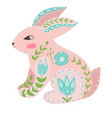 with rabbit and flowers in a vector image