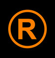 registered trademark sign orange icon on black vector image