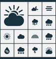 weather icons set collection of cloudy lightning vector image