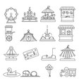 amusement park lineart elements isolated vector image