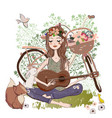 cartoon young woman with guitar and bicycle vector image