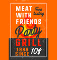 color vintage grill party banner vector image