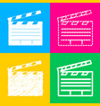 film clap board cinema sign four styles of icon vector image