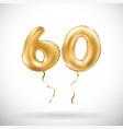 Golden number 60 sixty metallic balloon party vector image