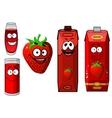 Happy strawberry juice cartoon characters vector image