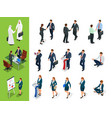 isometric business characters poses handshake vector image