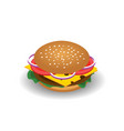 isometric drawing of hamburger with cheese vector image