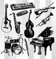 music instruments hand drawn vector image
