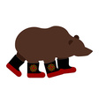 Russian Bear in boots Russian National animal vector image