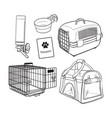 sketch hand drawn pet transport travel set on vector image