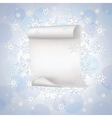 Winter background with paper and snowflakes vector image